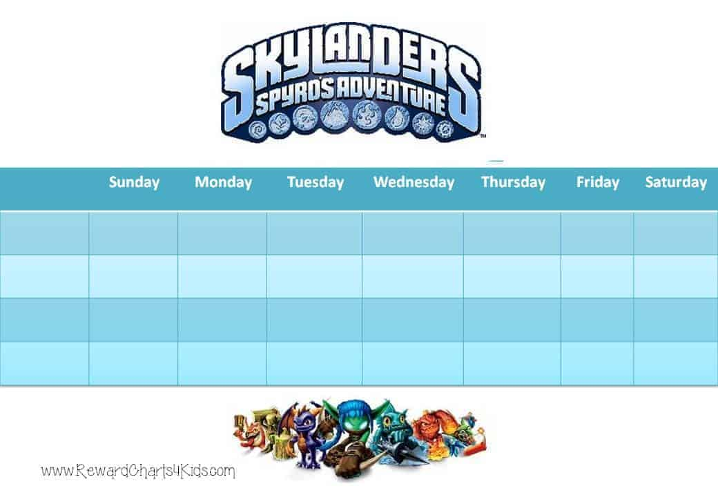 Skylanders Behavior Charts and Certificates - Kids Behavior Chart Template