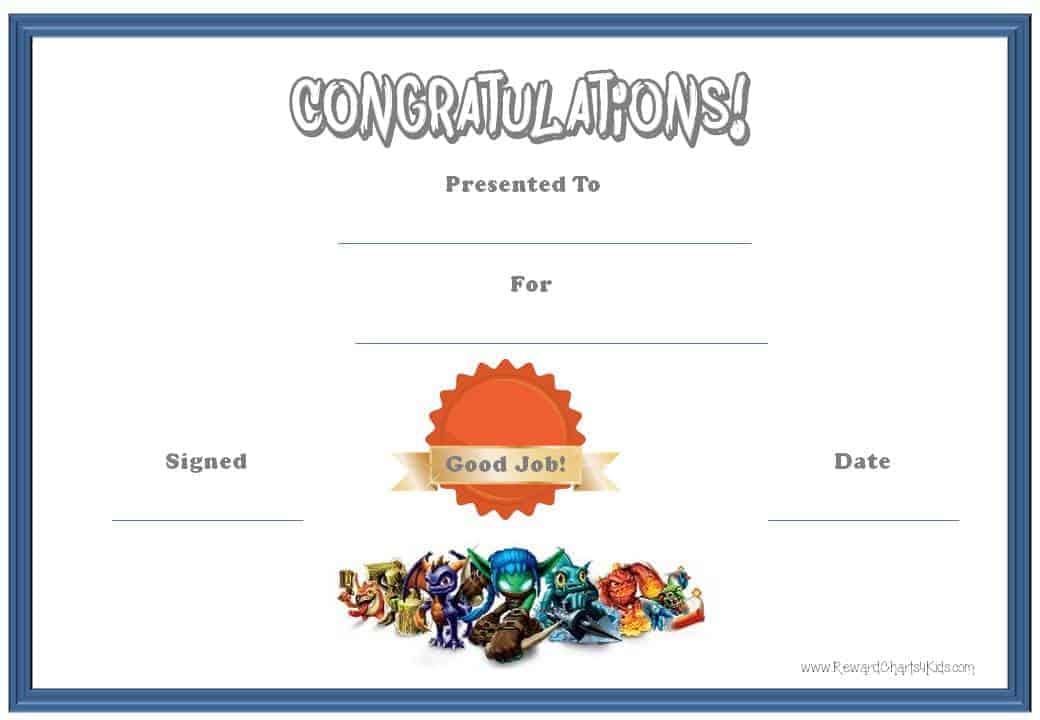 printable good job certificate templates