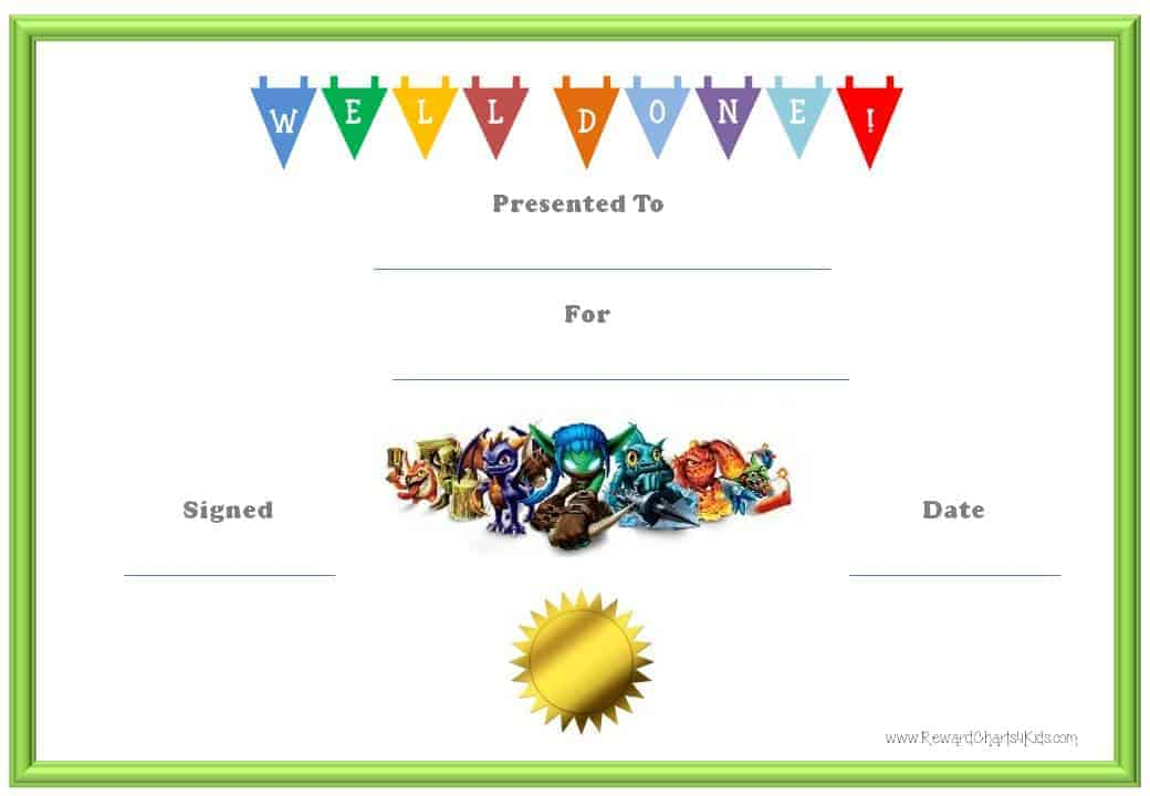 Skylanders Behavior Charts and Certificates - certificate template for kids