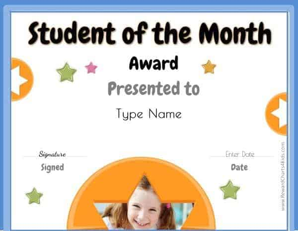student of the month certificate template xv-gimnazija