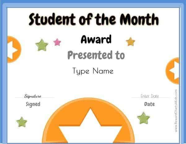 free student of the month certificate templates - Goalblockety