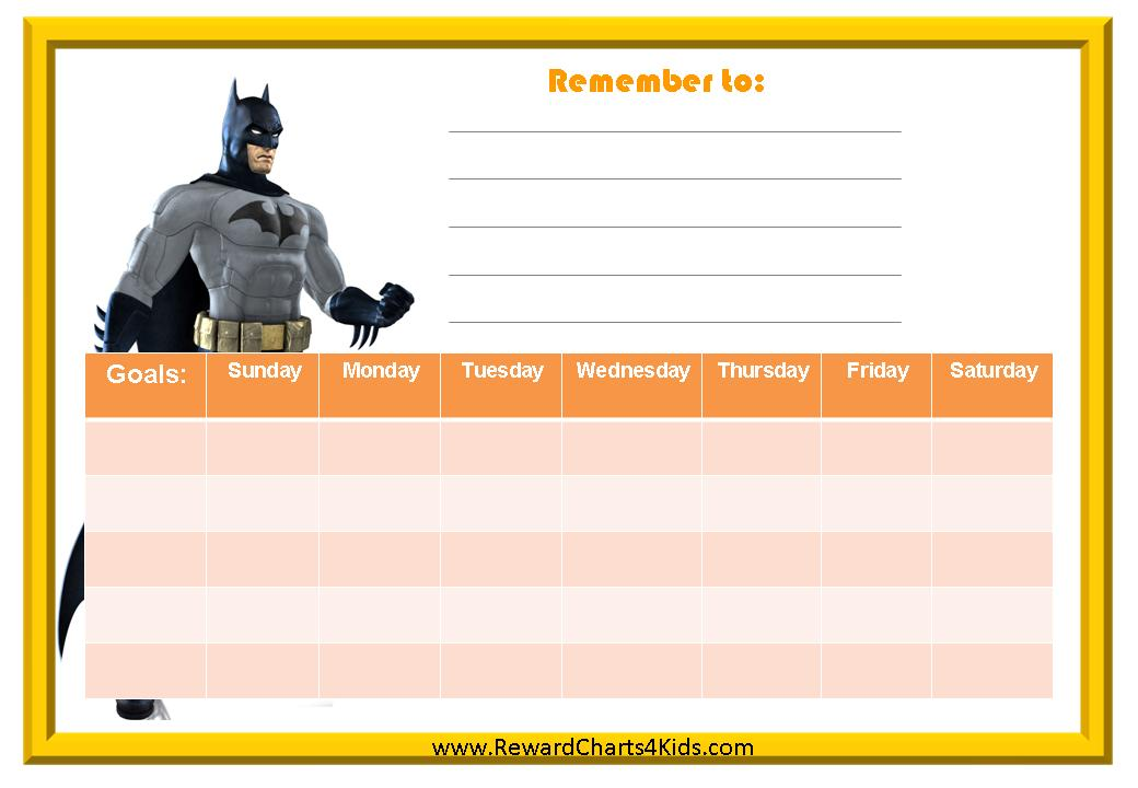 Batman Behavior Charts - Kids Behavior Chart Template