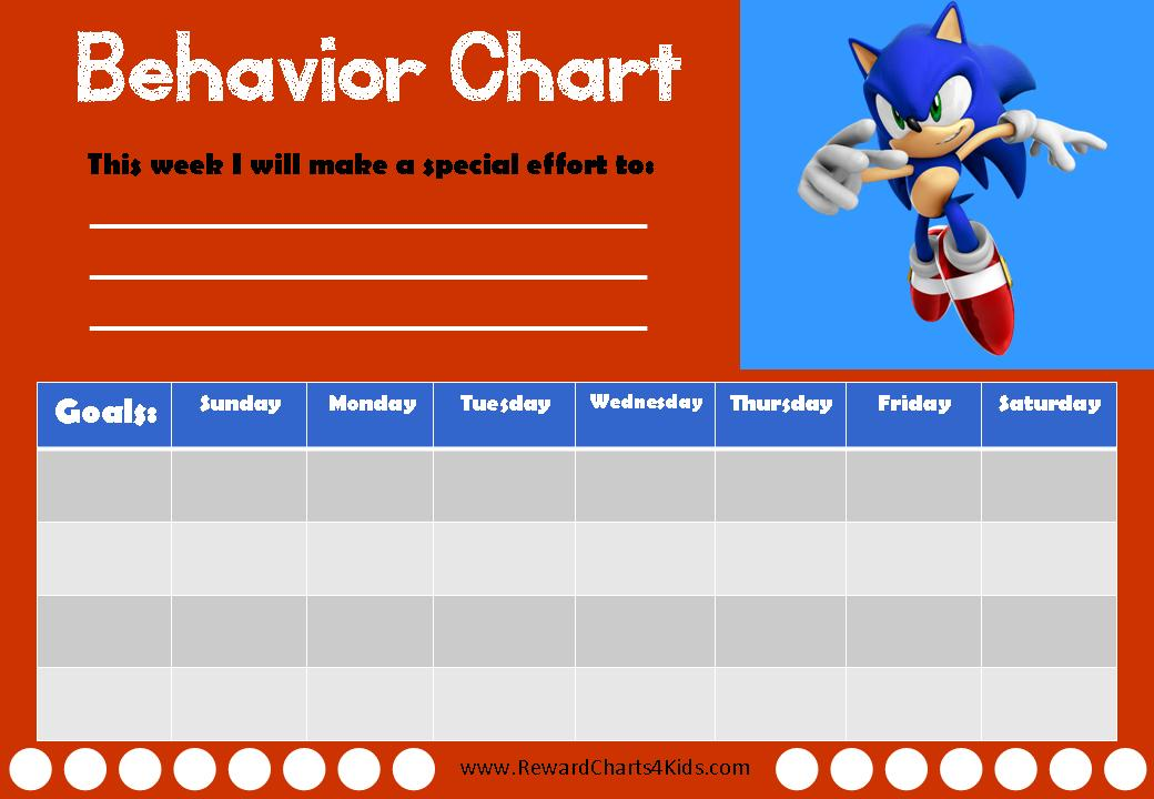 Sonic Behavior Charts - printable behavior chart