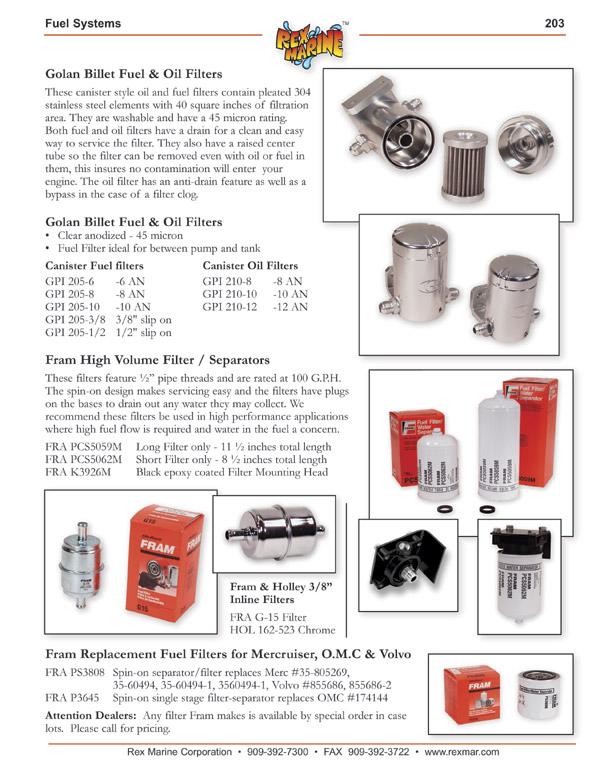 Golan Fuel  Oil Filters, Fram PCS5059M, PCS5062M, K3926M Spin-on