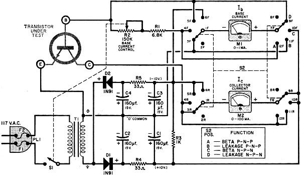 transistor beta tester circuit