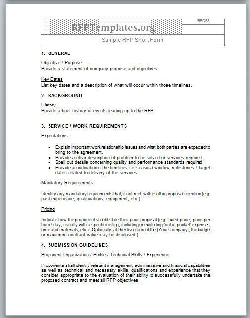 Sample Applications More Nih National Institute Of Short Form Rfp Sample Rfp Templates Rfp Templates