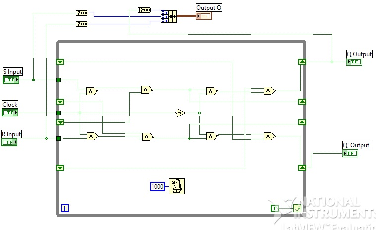 Design of Flipflops labview vi SR,JK,T,D labview source code