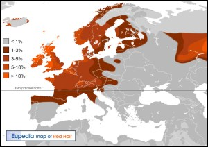 Is Rh Negative Blood Celtic? Red_hair_map_europe