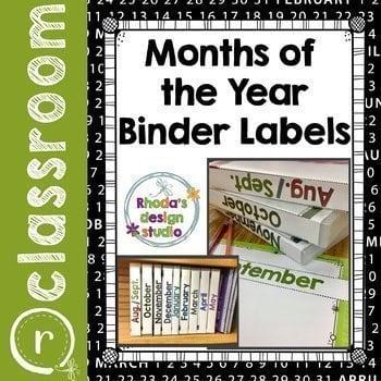Editable Months of the Year Binder Labels - Rhoda Design Studio
