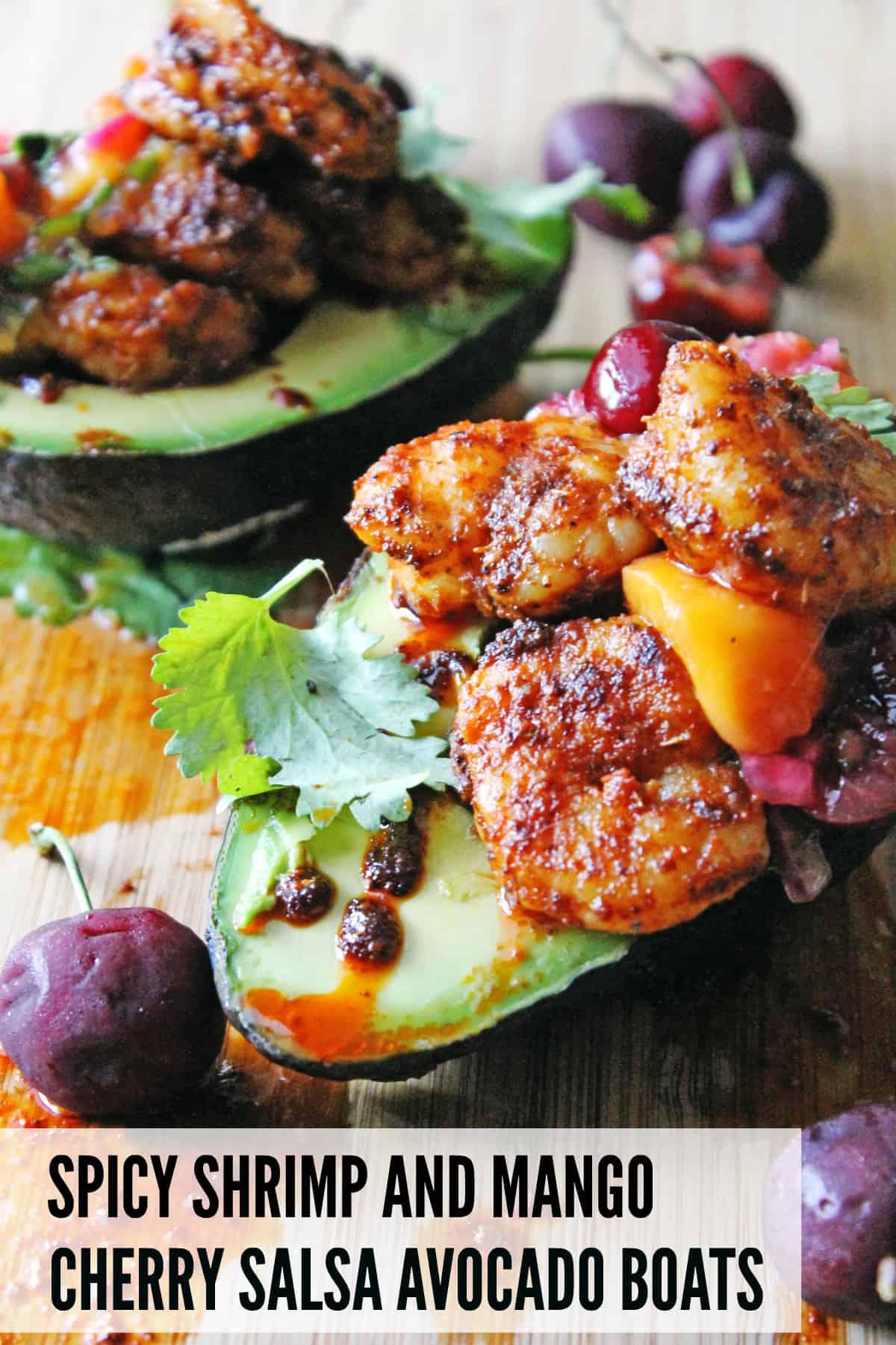 Spicy shrimp and mango cherry salsa avocado boats | Rhubarbarians