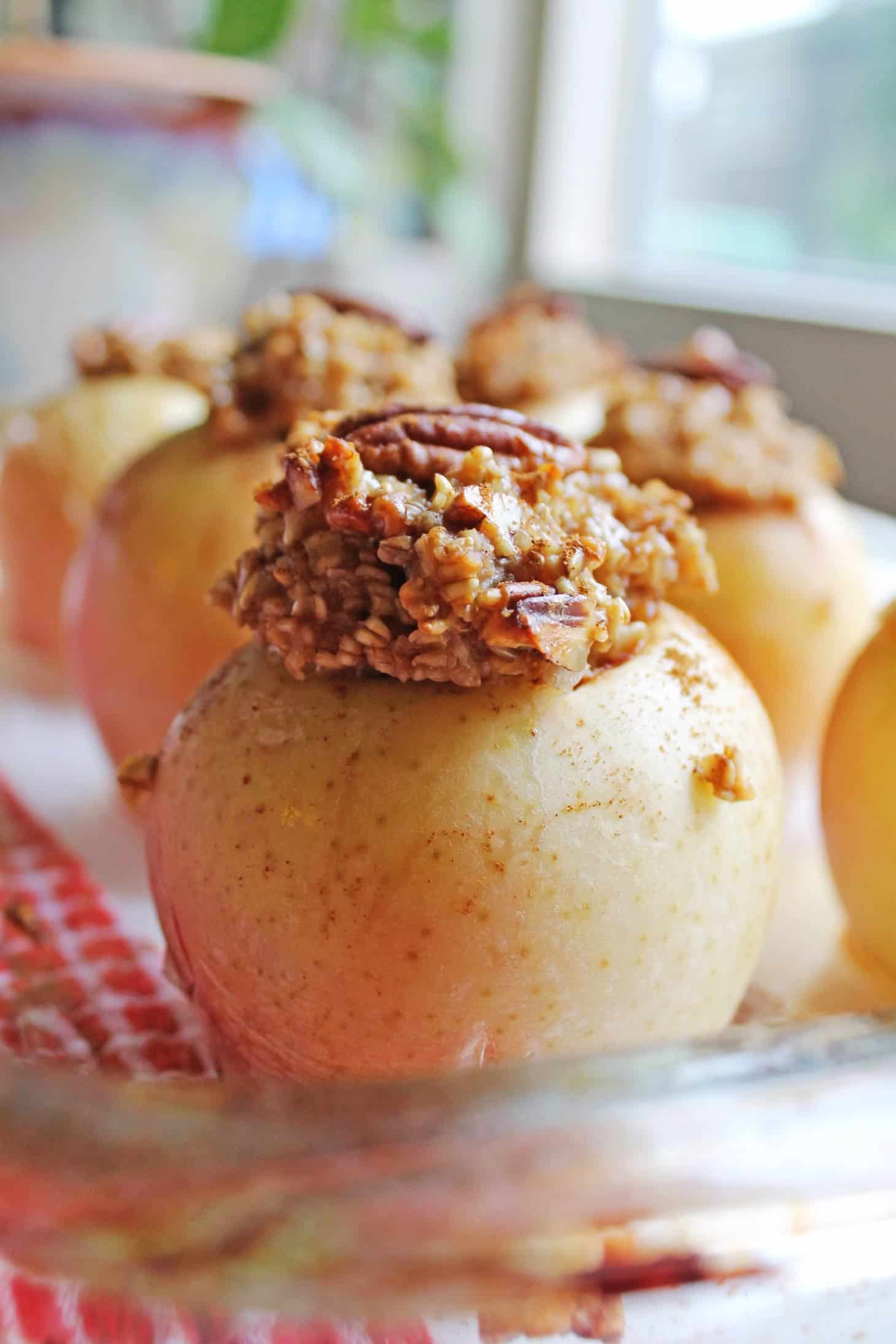 ... Maple pecan steel cut oatmeal is stuffed into apples, then baked and