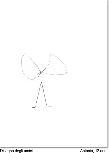 Antonio, 12 anni, disegna i suoi amici.