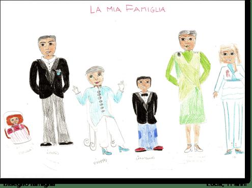 Lucia, 11 anni, disegna la sua famiglia.