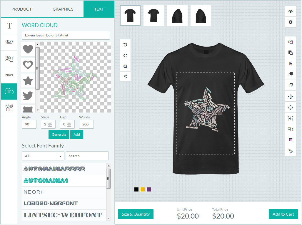 Magento t shirt designer tool text cloud within shape
