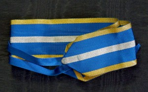 #RO026 - Romania, Kingdom, Order of the Romanian Crown, type 2 (1932 – 1946), war merit ribbon, ribbon for Commander's Cross, 37 mm