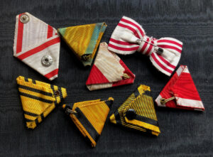 #SOAU002– Austria – Hungary, lot of 8 original ribbons – Order of Leopold, Order of Iron Crown, Red Cross Decoration, etc.