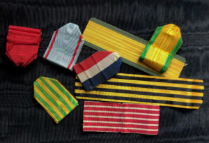 #SOFR002 - France, lot of 8 original ribbons – Legion of Honour, Military Medal, Decoration and Medal of July, Italy Medal, Dahomey Medal, etc.