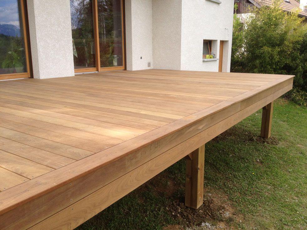 Double structure pour terrasse bois sur terrain stable