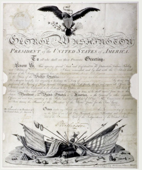 Military Commission signed by George Washington - After Restoration