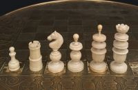 RARE ANTIQUE FRENCH CHESS TABLE AND CHESS SET