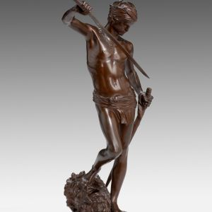 MARIUS JEAN ANTONIN MERCIE ANTIQUE BRONZE DAVID GOLIATH