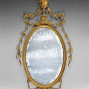ANTIQUE GILTWOOD AND GESSO ADAM PERIOD WALL MIRROR