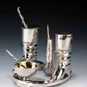 ANTIQUE SILVER PLATED CRUET SET ELKINGTON AND CO RIDING THEMED