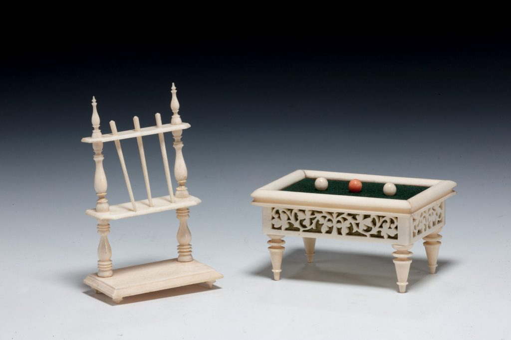Antique Miniature Ivory Snooker Table Cue Holder