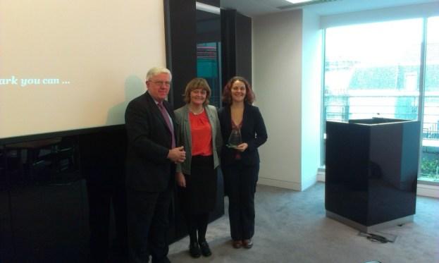 Pricewaterhouse Coopers receive their award from Martin White