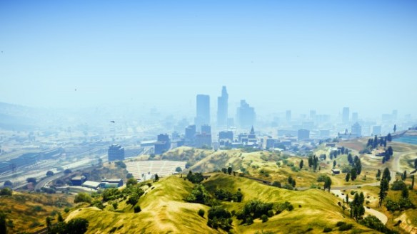 The skyline of Los Santos as seen from the Vinewood sign