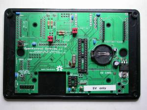 Ciseco OpenKontrol Gateway on lid of device, with Dallas 1307 RTC implemented