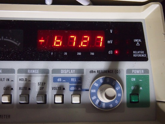 Fluke RMS meter showing the tone source at -67dBu