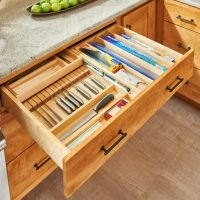 Tiered combination drawers for face frame cabinets ...