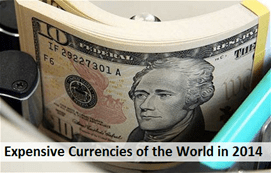 expensive currencies of the world in 2014