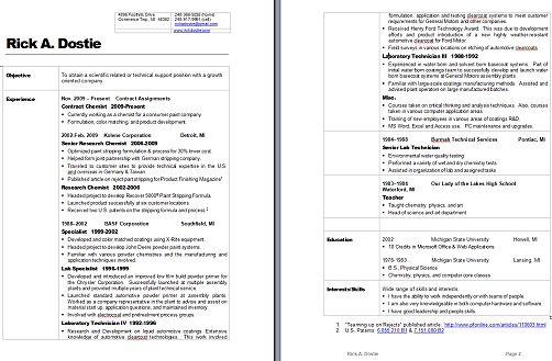 Download Current Resume  Rick A Dostie for Hire - listing education on resume