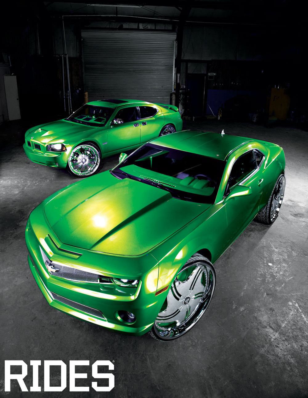 rides cars kent's automotive charger and camaro green