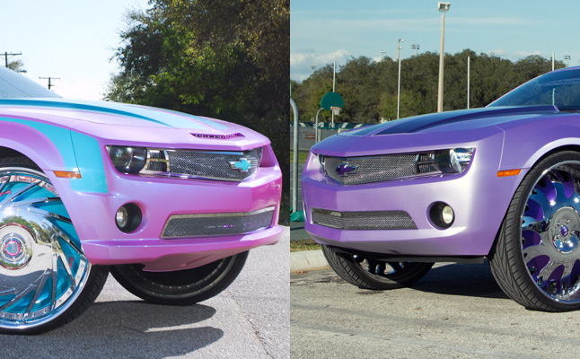 "rides cars chevy chevrolet camaro 'maro maro 30s 30"" rims tampa florida pink purple"