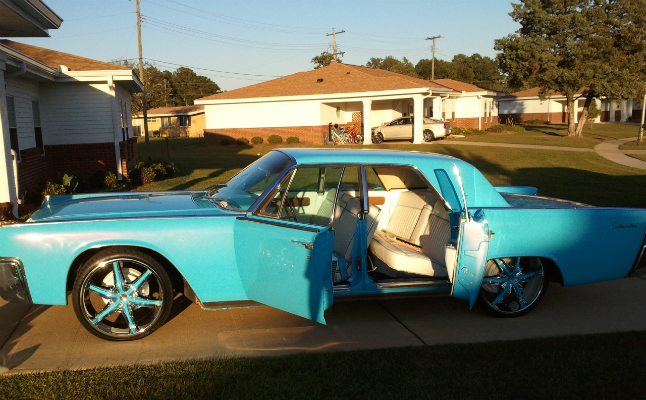 rides 1961 lincoln continental blue rims crooked lowrider nasty