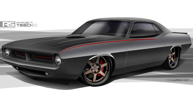 The Roadster Shop Fast Track Cuda will have a 6.4L Hemi, huge Brembo brakes, clean exterior and purposefully built chassis to handle the turns.