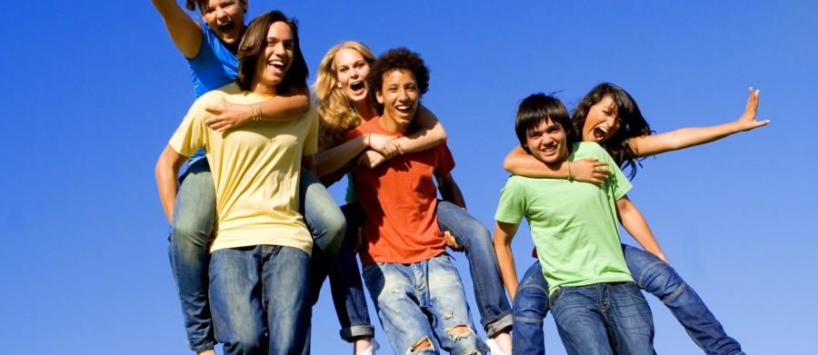 piggyback diverse group teens