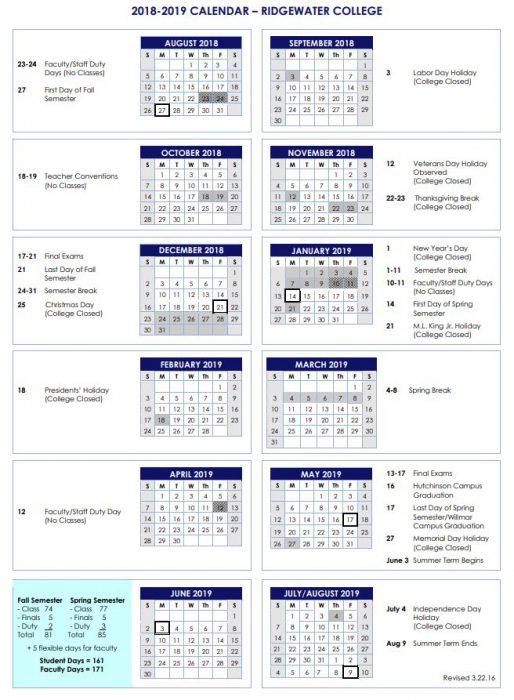 Academic Calendars - Ridgewater College