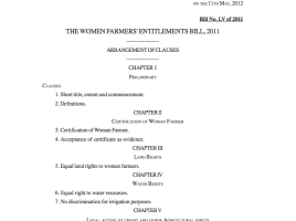 The Women Farmers' Entitlements Bill