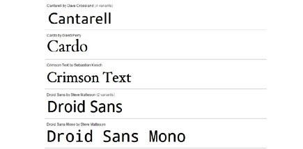 google font api - example typefaces