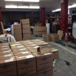 Books boxed by range and ready for loading. ( March 27, 2014)