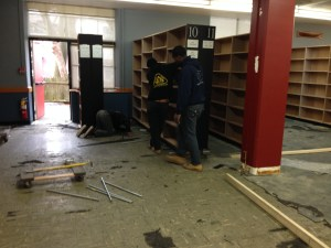 Bookcase removal began April 2, 2014
