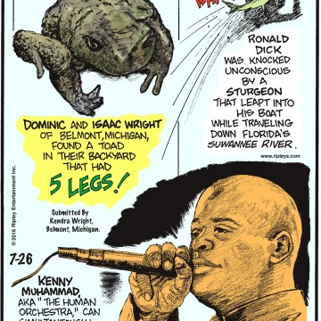 """Dominic and Isaac Wright of Belmont, Michigan, found a toad in their backyard that had 5 legs! Submitted by Kendra Wright, Belmont, Michigan -------------------- Ronald Dick was knocked unconscious by a sturgeon that leapt into his boat while traveling down Florida's Suwanee River. -------------------- Kenny Muhammad aka """"The Human Orchestra,"""" can simultaneously generate an entire orchestra of sounds from his mouth!"""