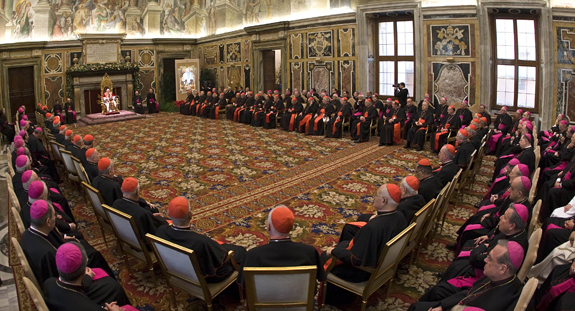 POPE ADDRESSES MEMBERS OF ROMAN CURIA DURING GATHERING TO EXCHANGE CHRISTMAS WISHES