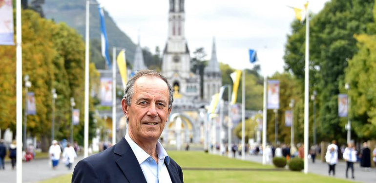 Thierry Lucereau, the newly appointed director of operations at the Catholic pilgrim site of Lourdes, poses for a photo on October 5, 2016, 2016 in the grounds of the  Sanctuaires Notre-Dame de Lourdes in southwestern France.  / AFP / PASCAL PAVANI