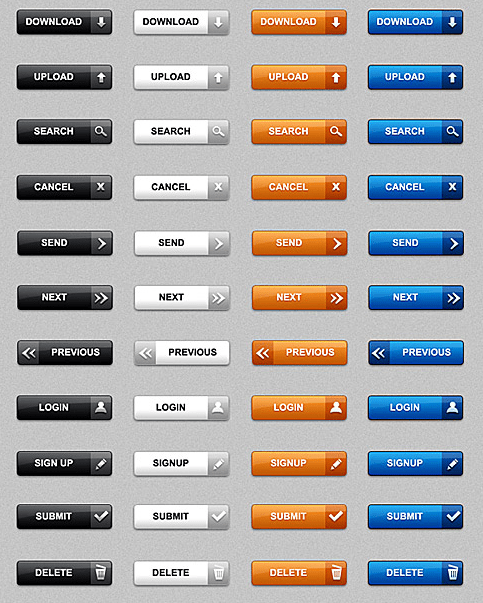 Download Free Simple Web buttons in PSD