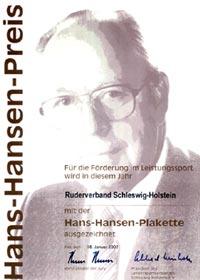 Hans-Hansen-Preis Urkunde